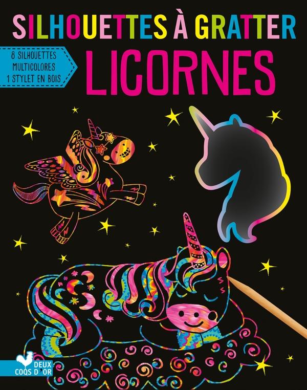 Silhouettes à gratter - Licornes - pochette avec accessoires