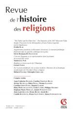 Revue de l'histoire des religions  (1/2018) Varia