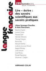 Langue française n° 199 (3/2018) Lire - écrire : des savoirs scientifiques aux savoirs pratiques
