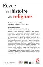 Revue de l'histoire des religions - Nº2/2019 La domination ecclésiale Modèles et critiques (XIXe-XXe
