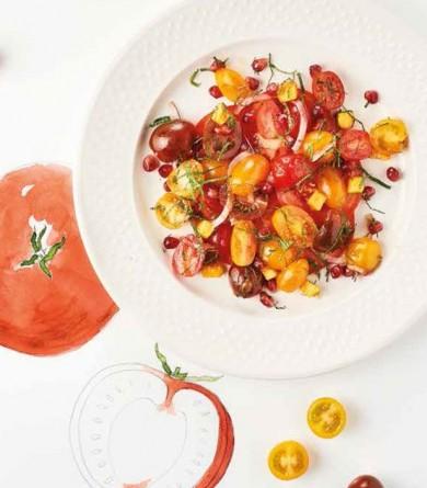 Méli-mélo de tomates, sauce à la pêche : notre recette de salade qui fait du bien